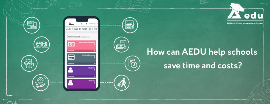 image showing text as How can Aedu helps schools to save time and cost-Aedu